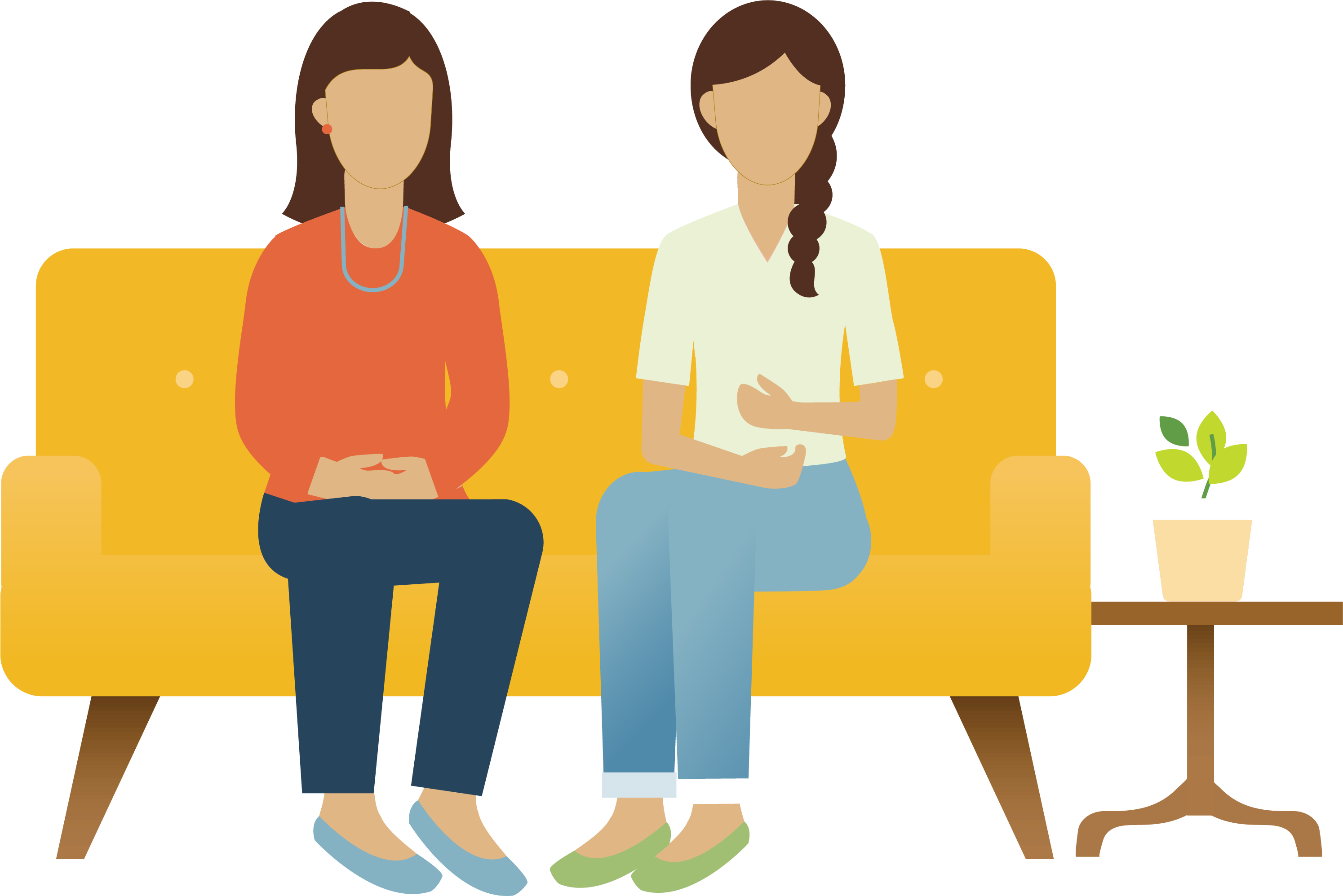 Illustration of two women on a couch