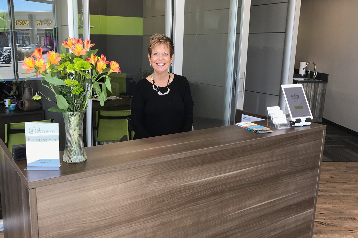 Photo of front desk at Face It TOGETHER in Fargo
