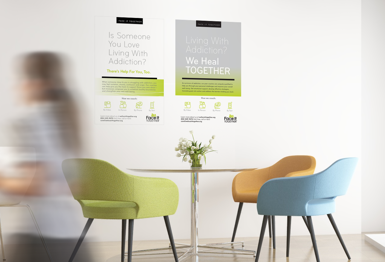 Photo of workplace with Face It TOGETHER collateral