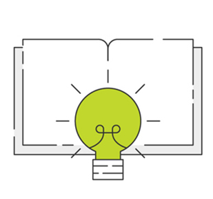 Illustration of green lightbulb in front of notebook