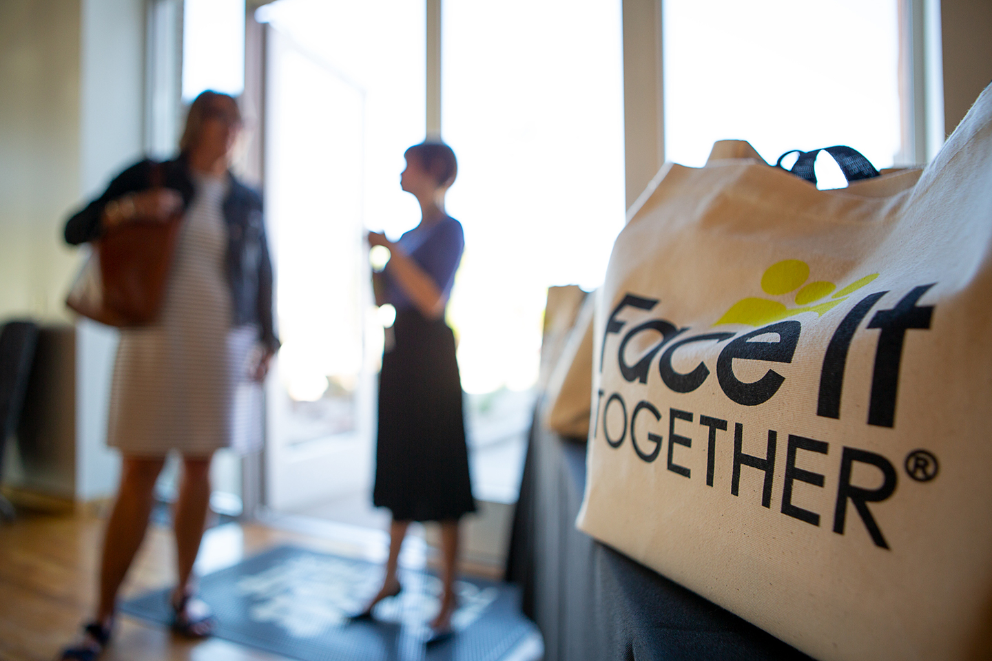 Photo of Face It TOGETHER logo and entryway
